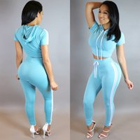 Wholesale shorts suit set for women for sale - Sexy Women Striped Tracksuits Women Short Sleeve Hooded Crop Top Skinny Pant pc Set Casual Suit For Night Club