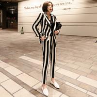 ternos coreanos das senhoras venda por atacado-Mulheres blazer conjunto coreano preto branco listrado double breasted negócio formal calças ternos escritório senhora desgaste do trabalho roupas jn127