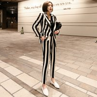 формальные блейзеры для работы оптовых-Women blazer set korean black white striped double breasted formal business Pants suits office lady work wear clothing jn127