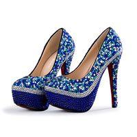 ingrosso scarpe alte in bling blu-2018 handmade blu cristallo tacchi alti strass bling bling scarpe da sposa tacchi alti da sposa partito scarpe da sposa sexy tacchi partito