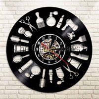 Wholesale Antique Style Wall Lights - Wholesale-1Piece Hair Logo Vinyl Record Wall Art Clock Barber Shop Decor Hairdresser Beauty Salon Beauty Handmade Gift