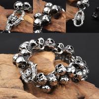 ingrosso braccialetti d'argento gotici degli uomini-Mens Personality Large Skull Link Bracelet In acciaio inossidabile Biker Gothic Style Wristlet Bracciale a maglia da uomo alto lucido con argento G830R