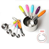 Wholesale cup spoon handle - 10pcs set Measuring Cups Spoons Set Measuring Set Sturdy Stainless Steel Stackable With Soft Silicone Handles Baking Kitchen Tools AAA704