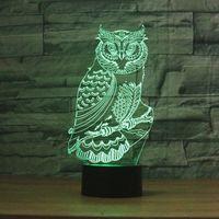 iluminação azul venda por atacado-Owl 3D NOVO 3Colors Mudança LED Noite dos desenhos animados Lâmpada Holograma Luminarias Vermelho Azul Roxo mutável Mood Lamp Luz Dropshipping Atacado
