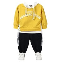ingrosso vestiti di marca bebe-vestiti di marca 2018 Primavera Autunno Hoodies lettera manica lunga T-Shirt Pantaloni 2 Pz Bambino Bebè Vestiti Outfit Neonato Abbigliamento casual per bambini