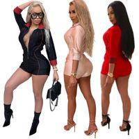 yarım ince toptan satış-2018 Kadın Playsuit Yarım Kollu Kısa Tulum Zarif Bodycon Tulum Kadınlar Tulum Yeni Moda Ince Spor Tulumlar Artı Boyutu S-XXXL