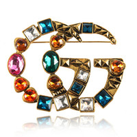 pernos del vintage de la moda al por mayor-Vintage Crystal Big Luxury Broche Mujeres Letra G Diseñador Broche Traje de Solapa Pin Accesorios de Joyería de Moda Regalo para el amor