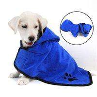 mini cão roupa venda por atacado-Cão de estimação Roupas para Cães Gatos Quente Absorvente Toalha de Cachorro Gatinho Gatinho Com Capuz Toalha de Banho Produto de Animais de Estimação Chihuahua Yorkshire Roupão de banho