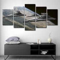 espacio lienzo de pintura al por mayor-Wall Art Canvas HD Impreso Sin marco Pintura Decoración del hogar Liveing Room 5 Piezas Movie Wars Pictures Space Star Destroyer Poster