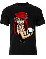camisetas de la moda del tatuaje al por mayor-PIN UP Zucchero Skull Ariel Tattoo Alternativa Hipster PICCOLO SIRENA Hombre 2018 moda Marca Camiseta O-cuello
