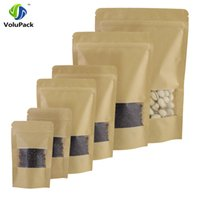 Wholesale Kraft Stocks - High Quality 100pcs Waterproof Stand Up Package Zip Lock Pouches Tear Notch Brown Kraft Paper Storage bags With Window