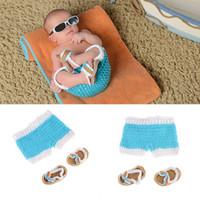 sandalias de ganchillo recién nacido al por mayor-Pantalones y sandalias de playa azul marino y verde de Newborn Crochet Knit bebé niño recién nacido Accesorios de fotografía Accesorios de fotografía