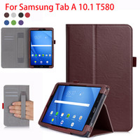 Wholesale samsung galaxy tab - High Qualtiy PU Leather Case For Samsung Galaxy Tab A A6 T580 SM T585 T580N Cases Cover Tablet Hand Holder Shell Funda