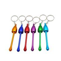 keychain zigarettenhalter großhandel-Metallpfeife-Huka-Pilz-Zigarettenhalter-Pilz-Tabak-Rohr-Aluminiumrohr mit Keychain