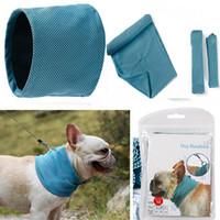 bufanda de perro azul al por mayor-Pañuelo de enfriamiento del hielo del perro Pet Cat Bufanda Summer Wreating Cooling Toalla Wrap Blue Arcos Accesorios de vestir HH7-1248