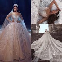 свадебное платье цветочное плюс размер оптовых-Роскошные длинные рукава бальное платье Свадебные платья из бисера 3D цветочные аппликация Саудовская Аравия кружева свадебные платья 2019 плюс размер свадебное платье