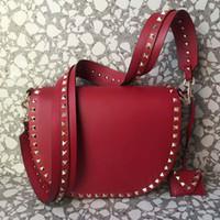 Wholesale pretty handbags - 2018 woman men bag new genuine leather high fashion cover saddle handbag rivet semicircle dating travel big bag pretty engliand styles 27cm
