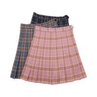 korecek alin etek etekleri toptan satış-Kawaii kore okul üniforma Etek Kız Artı Ekose etek Kadınlar Için Öğrenciler Yüksek Bel kaya pilili etekler