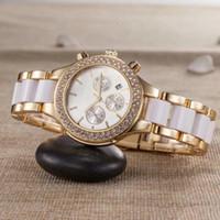 ingrosso bianco orologio da ceramica delle donne-montre femme nuovo marchio elegante Designer di lusso vestito da donna orologio in ceramica bianca orologio da donna con diamanti automatico daydate orologio da polso in oro