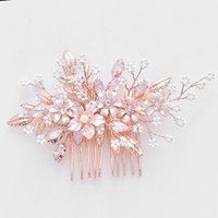 accesorios para el cabello peines de oro al por mayor-Rosa de oro floral peine del pelo nupcial tocado de cristal perlas de la boda baile de las mujeres accesorios de la joyería del pelo hechos a mano