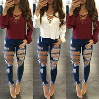 Wholesale Jeans Tight Pants - 2018 New Women Jeans Hole Ripped Trousers Stretch Tight Jeans Women's Denim Pants Female Casual Pencil Pants Denim Pants