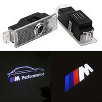 bmw ledli kapı ışıkları toptan satış-BMW F30 E60 E90 E92 E93 için F20 Z4 X1 X6 GT M3 M5 M Performans Logosu Araba LED Kapı Karşılama Işık
