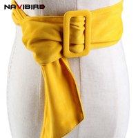 cinturón de tela amarilla al por mayor-2018 Verano Fuax Amarillo Cinturones de Gamuza Para Las Mujeres Gran Rectángulo de Aleación Hebilla de Tela Cinturón de Cintura de Terciopelo Vestido de Señora Corsé Cinturón Riem