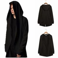 ingrosso assassini creazioni hoodies-Nero con The Wizards Man Felpa con cappuccio e felpe Manica lunga da uomo Cappuccio da assassino con mantello con mantello
