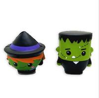 juguetes de vampiros al por mayor-4 Estilos Halloween Jumbo Squishy Skull Hombre Bruja Vampiro Verde Zombie Sourish Squishies Slow Rising Pan Descompresión Juguete CCA10410 36pcs