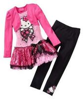милые зимние наряды для гетры оптовых-Распродажа дешевые девушки установить классический девушка кошка рубашка с длинными рукавами + брюки комплект одежды девушки одежда Детский костюм дети весна и aut