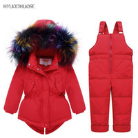 Wholesale Baby Girl Red Fur Coat - HYLKIDHUOSE Winter Infant Clothes Sets Baby Boys Girls Down Suits Multicolor Fur Coats+Pants Children Kids Warm Outdoor Suits