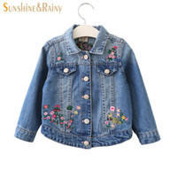 Wholesale floral jean jacket - Floral Baby Girls Denim Jackets Coats Embroidery Flower Denim Jacket For Girl Autumn Children Outerwear Kids Jean Coat 2-13 Y