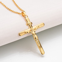 Wholesale Brass Jesus - Hot Sale Jesus Plating Cross Fashion Lovers Gift Girls Women Jewelry Alloy Pendant Necklace Design Cute Wholesale