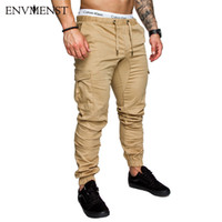 ingrosso pantaloni americani harem pant-Envmenst 2018 pantaloni a banda caviglia uomini grandi tasche su pantaloni Street American Men Overall Wear Hip Hop Fitness Jogging Harem