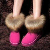 damen braune pelzschnee stiefel groihandel-2018 neue Frauen Faux Pelz Schnee Stiefel Knöchel warme beiläufige bequeme Winter Schuhe weibliche Dame Mädchen flache Ferse Stiefel schwarz braun rot
