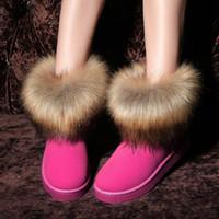siyah topuk topuk ayakkabıları toptan satış-2018 Yeni Kadın Faux Kürk Kar Botları Ayak Bileği Sıcak Rahat Rahat Kış Ayakkabı Kadın Lady Kız Düz Topuk Çizmeler Siyah Kahverengi Kırmızı