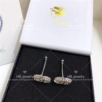 çift taraflı küpeler toptan satış-Popüler moda markası Yüksek sürüm Çift taraflı elmas küpe için bayan Tasarım Kadınlar Partisi Düğün Lüks Takı Gelin Whit KUTUSU ile ..