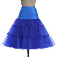 anáguas azuis venda por atacado-Preto rosa royal azul doces cor curto vestido de noiva acessórios anáguas cintura elástica diferença cor tule tutu saias para as mulheres