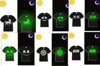 110-150cm glow in the dark kids sunlight children T-shirt boys black in moon light, short christmas gift usa dance party school 4-13 years