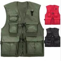 Wholesale photographer multi pocket vest for sale - Group buy Mens Vests Multi Pockets Summer Breathable Waistcoat Photographer Reporters Volunteer s Vest Tools Pockets Work Uniforms