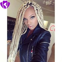 Wholesale 28 inch ombre braiding hair for sale - Group buy blonde Synthetic Lace Front Braid Wigs Pure Color simulation human hair Wigs Inch With Baby Hair Braided Wigs For Black Women