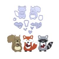 fotos de arte metal al por mayor-Cute Woodland Animals Set Fox Metal Cutting Dies Stencil para DIY Álbum de fotos de Scrapbooking Tarjetas de papel en relieve Artes decorativas