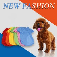 Wholesale red black female clothes online - Wholesales Solid Colors Dog Clothes Pets Dogs Breathful Cotton T Shirt with Round Dog Collar Pet Supplies Dog Accessories