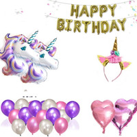 Wholesale Large Horse - Unicorn Balloon Large Size Purple Birthday Letter Suspension Aluminum Film Party Decoration Horse Head Cartoon Animal Most Cheap 29pq V