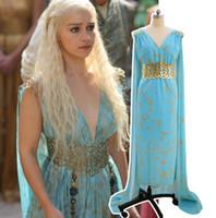 tronos de juego disfraces al por mayor-Juego de Cosplay de Game of Thrones Vestido de Fiesta de Daenerys Targaryen Canción de Hielo y Fuego Disfraces de Halloween Party Favor OOA5562