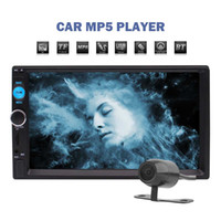 Wholesale Video Hands - 7'' Touch Screen Car Stereo MP5 Player Double Din Head Unit FM Radio Bluetooth Hands-free AUX In Audio Video Playback IR Remote Control