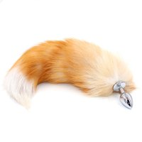 Wholesale erotic sex cosplay for sale - Anal Plug with Big Real Crystal Fox Tails Metal Butt Plug Couple Sex Toys Erotic Cosplay Tail Size for Choice Drop Shipping