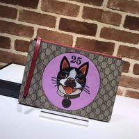 Wholesale women celebrity fashion handbag for sale - Top Quality Luxury Celebrity design Letter embossing Embroidery Dog Canvas Clutch Genuine Leather Canvas Handbag