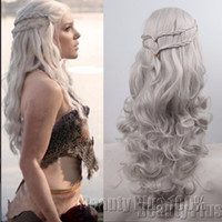 spiel throne perücken großhandel-Cosplay Perücken Game of Thrones Daenerys Targaryen Cosplay Perücke slivery grau und blond Kunsthaar Perücke lange gewellte Haare Perücken