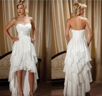 Wholesale Western Dress Up - New Short Front Long Back Wedding Dresses Simple Design Sweetheart Chiffon High Low Country Western Hi-lo Bridal Gowns Dress with Ribbon